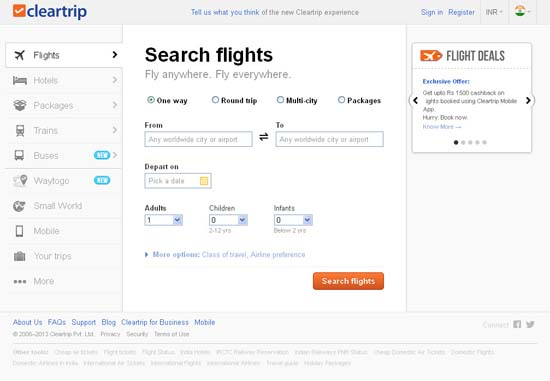 Cleartrip Travel Website India