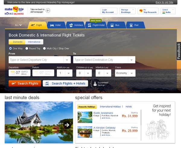 MakeMyTrip Travel Website India