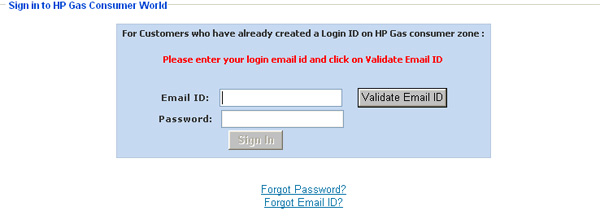HP gas login ID