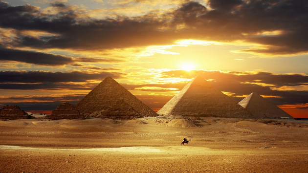 Sunset Great Pyramids Egypt