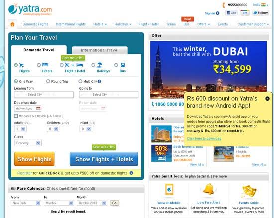 Yatra Travel website India