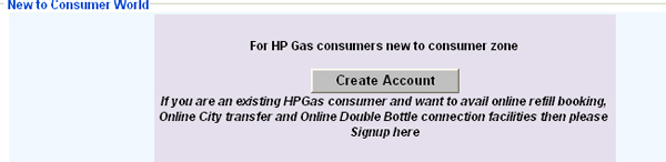 HP Gas create new account