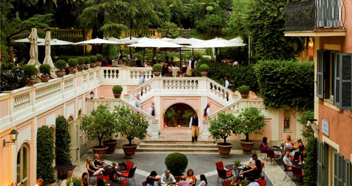 Stravinsky Bar at the Hotel de Russie, Rome
